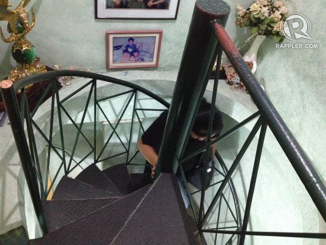 INTO HIS ABODE. Mayor Duterte climbs up this spiral staircase every day to reach his bedroom.