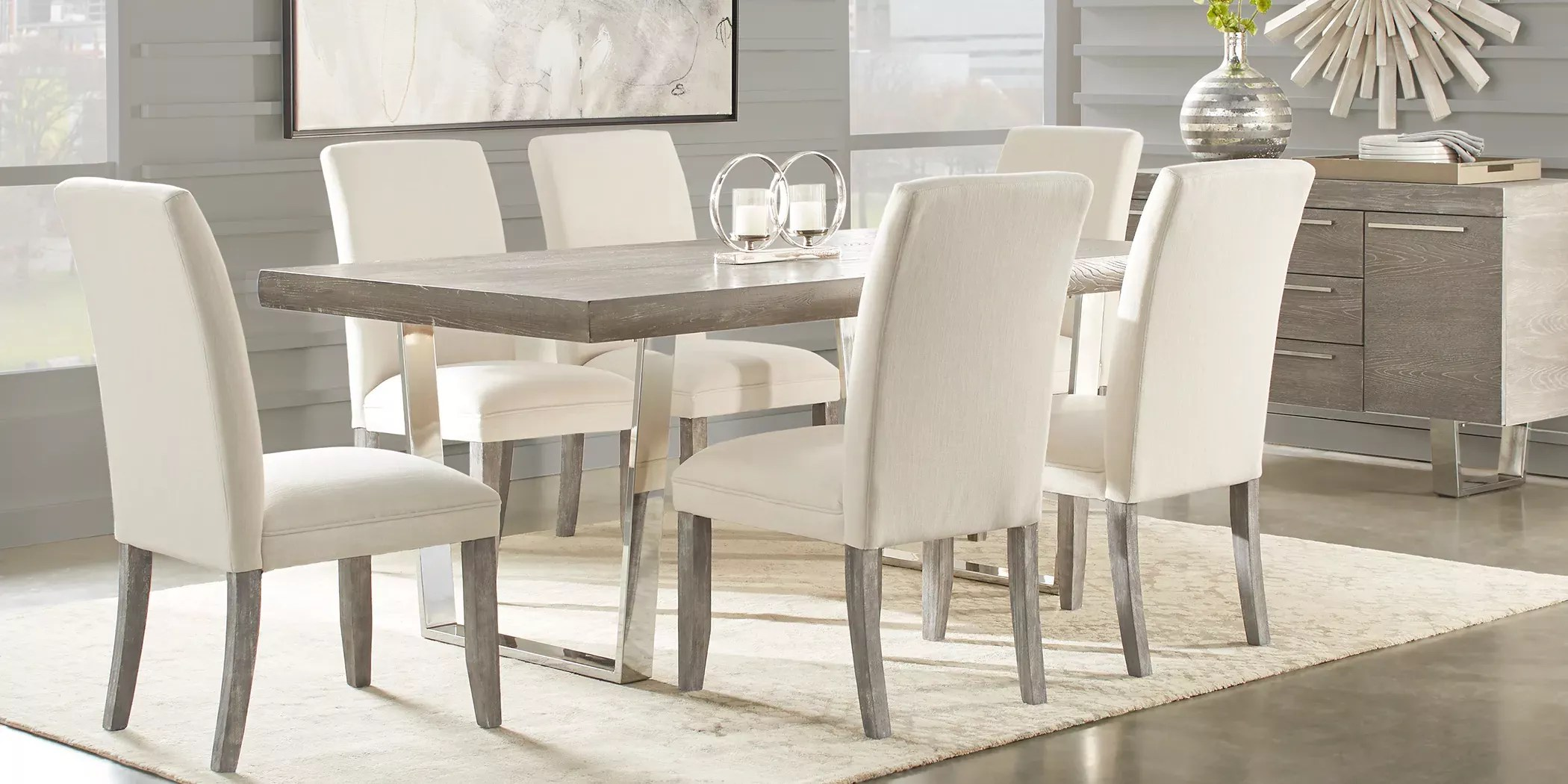 Cindy Crawford Home San Francisco Gray 5 Pc Dining Room With Chalk Chairs Rooms To Go