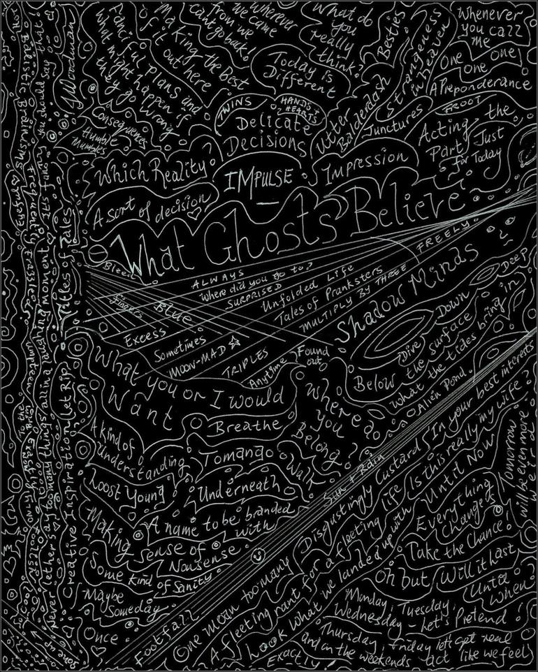 Fun Titles for Stories or Lines for Songs (White on Black) Drawing