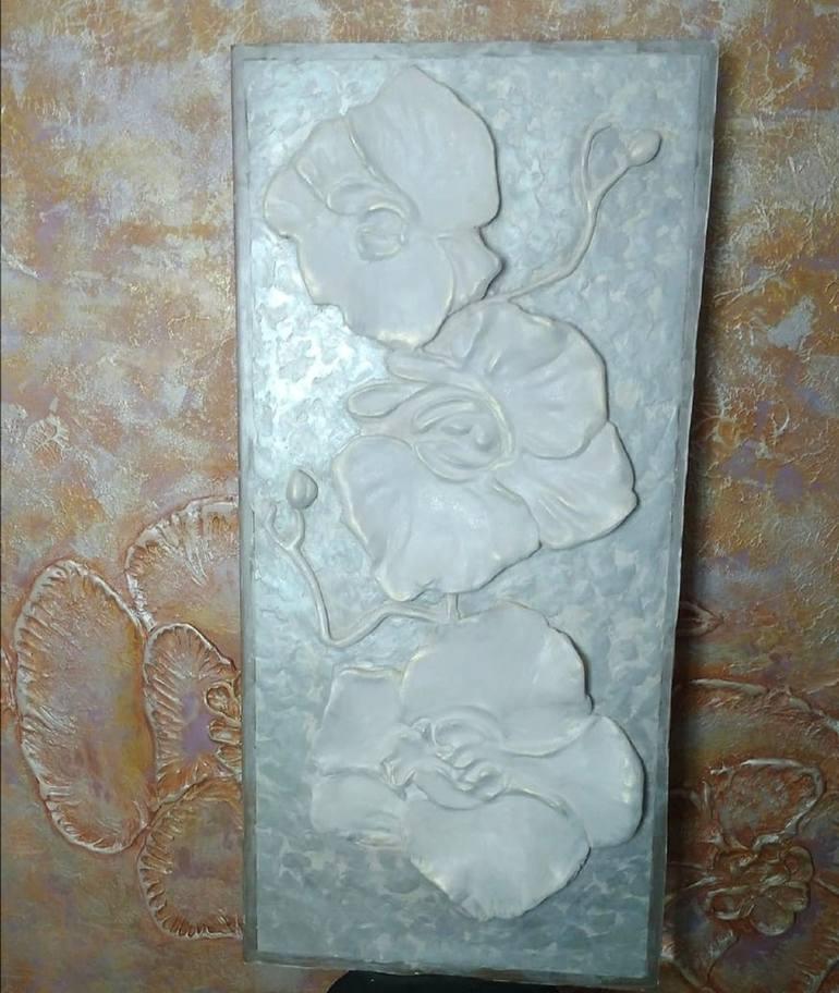 Large sculptural Wall Art flower Orchid basrelief 3D Gypsum plaster
