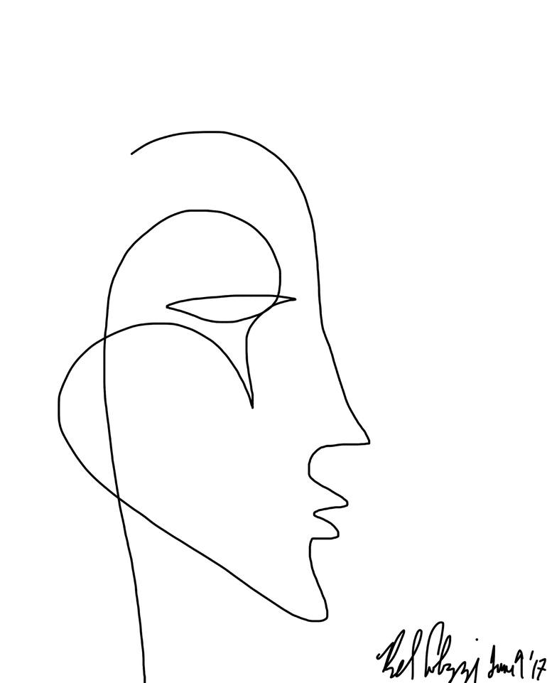 Saatchi Art One Line drawing of Profile 1 - Limited Edition 1 of 10 - line drawing