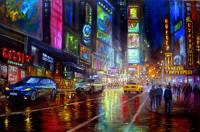 New York city lights 2 Painting by vishalandra m dakur ...