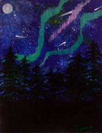 Saatchi Art: Northern Lights Night Sky Painting by Penny