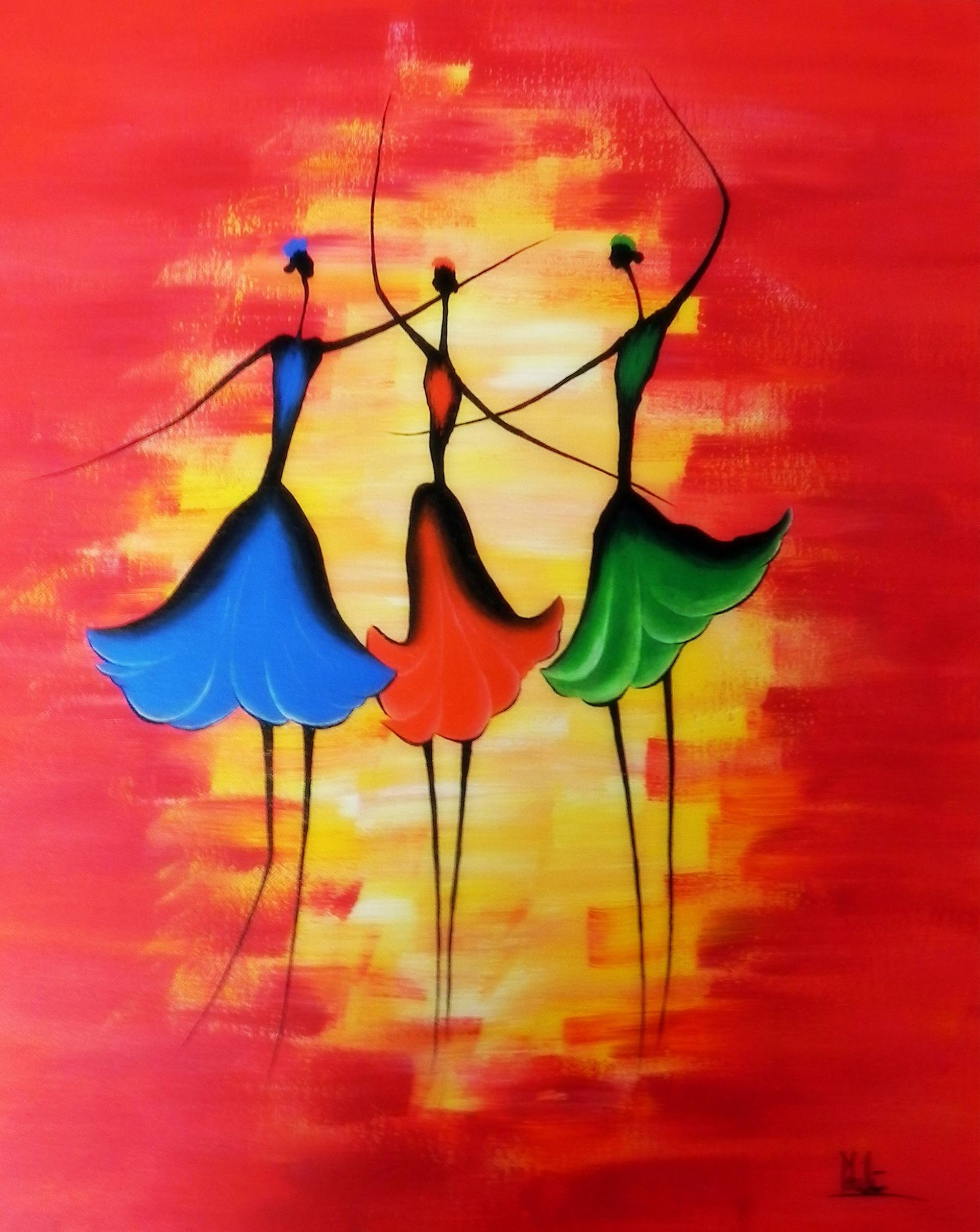 Abstract Painting Of Girl Dancing Dancing Girls Painting By Ca Arts And Crafts Saatchi Art