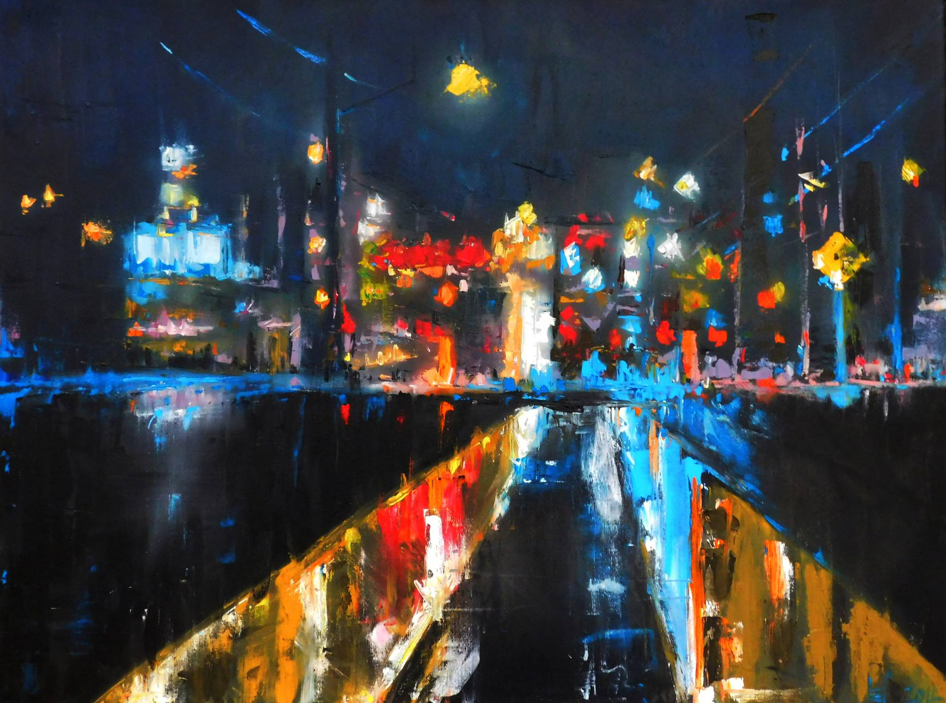 Street Light At Night Painting Saatchi Art Sold 39wet Street 39neath City Lights