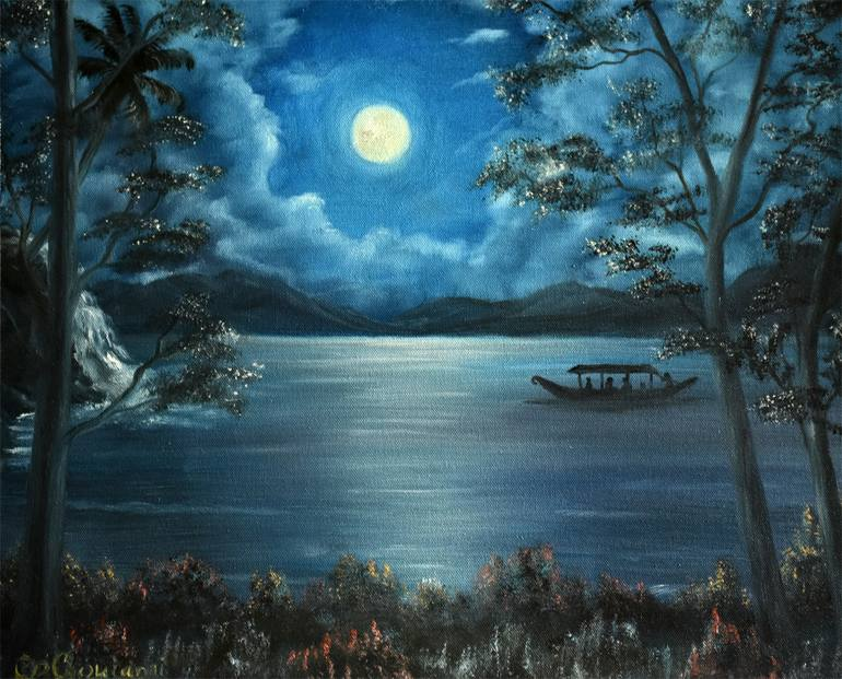 3d Wallpaper In Bangalore Saatchi Art Full Moon Night Painting By Goutami Mishra