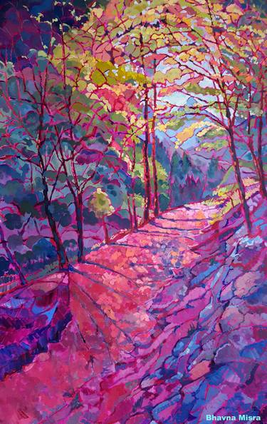 Pink Path Through the Woods\u201d \u2013 Colorful Nature Painting by Artist