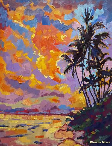 February Sunset\u201d \u2013 Colorful Nature Painting by Artist Bhavna Misra
