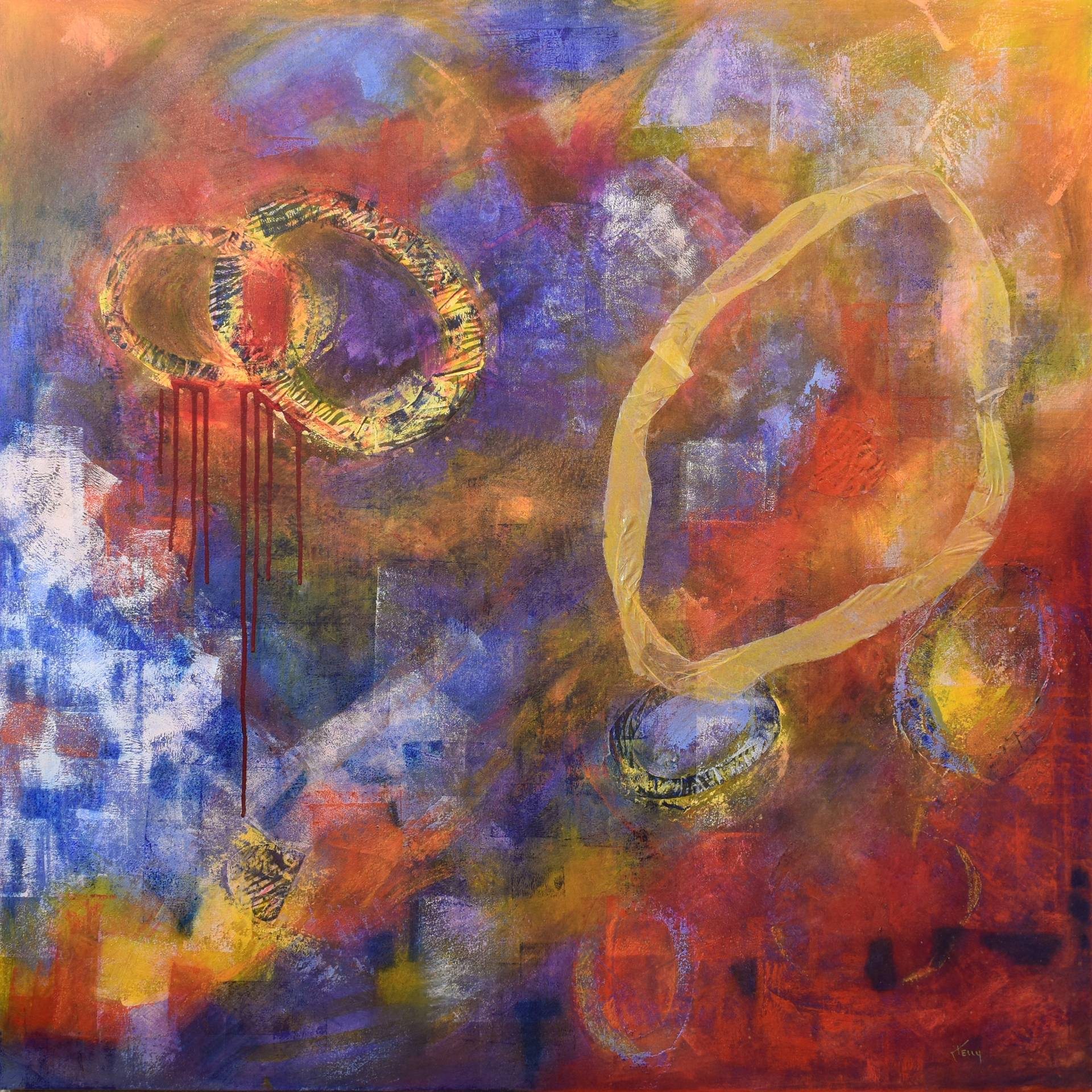 Contemporary Abstract Painting Large Contemporary Abstract Entitled Barney Fell Down