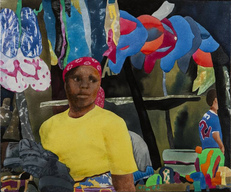The Young Shoe Shop Assistant (African Scene # 1) Painting by Amrei