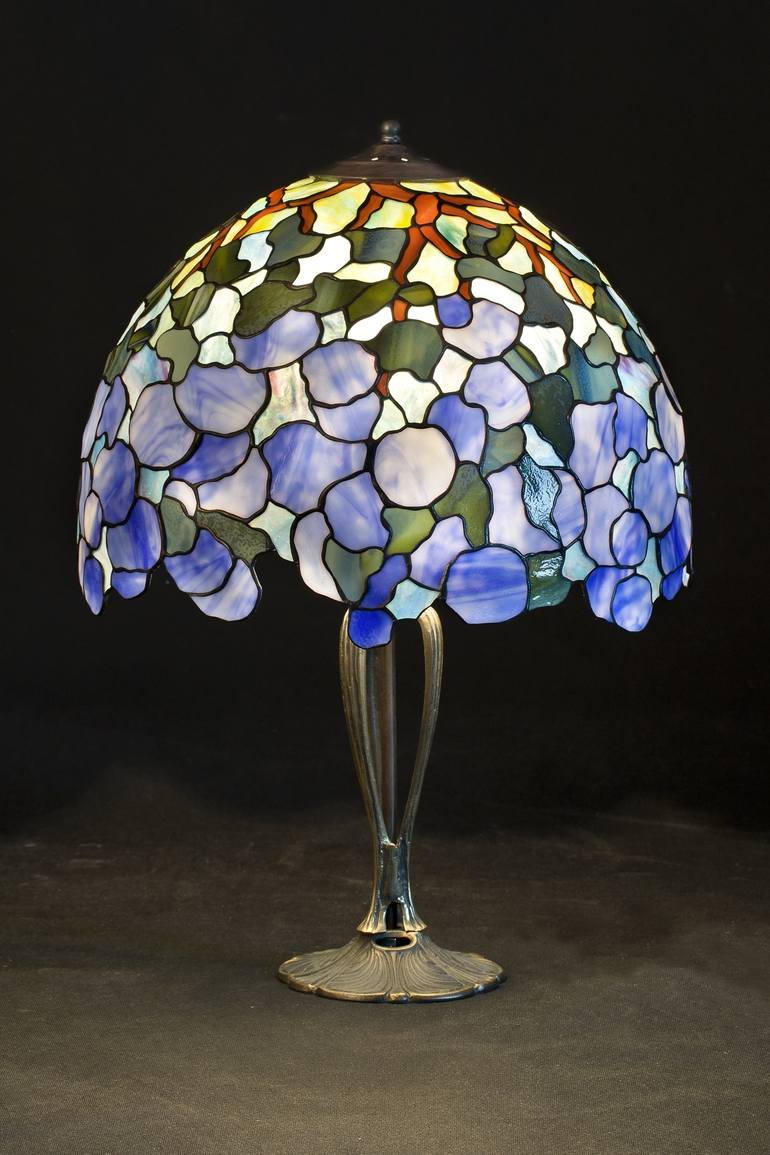 Glass Lamp Art Tiffany Lamp Hydrangea Stained Glass Lamp