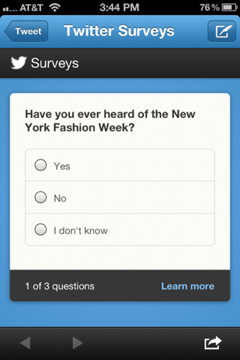 Twitter brand surveys let advertisers poll users directly from their