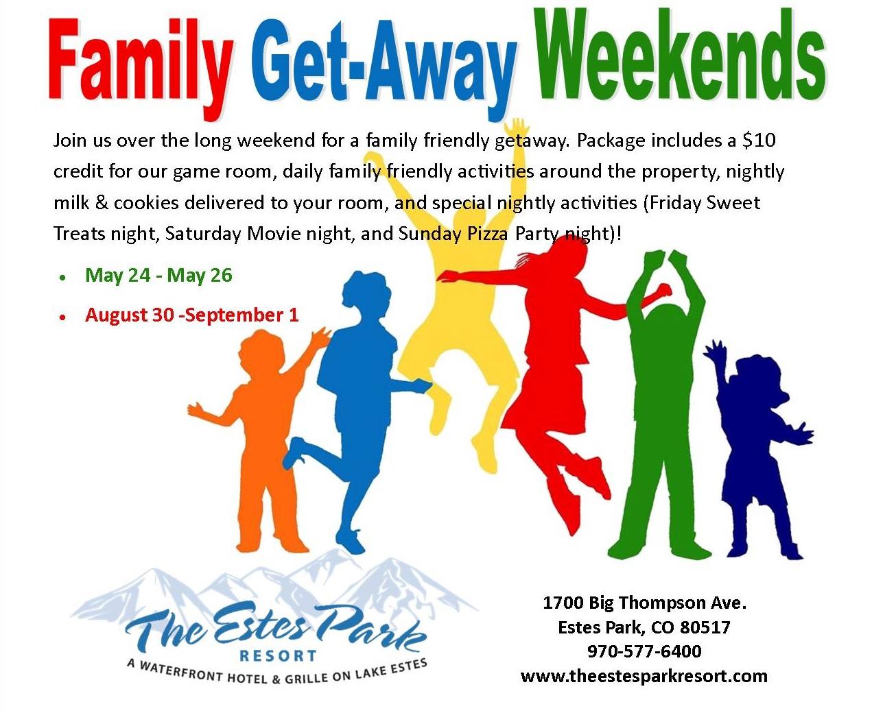Movie Park Coupon Family Get Away Weekends Estes Park Co 80517