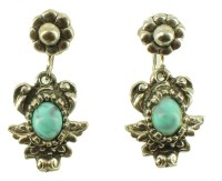 VINTAGE FAUX TURQUOISE SILVER TONE ORNATE DROP SCREW BACK ...