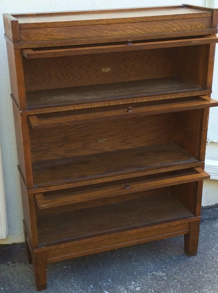 Antique Hale39s Herkimer Oak Barrister Bookcase Mission