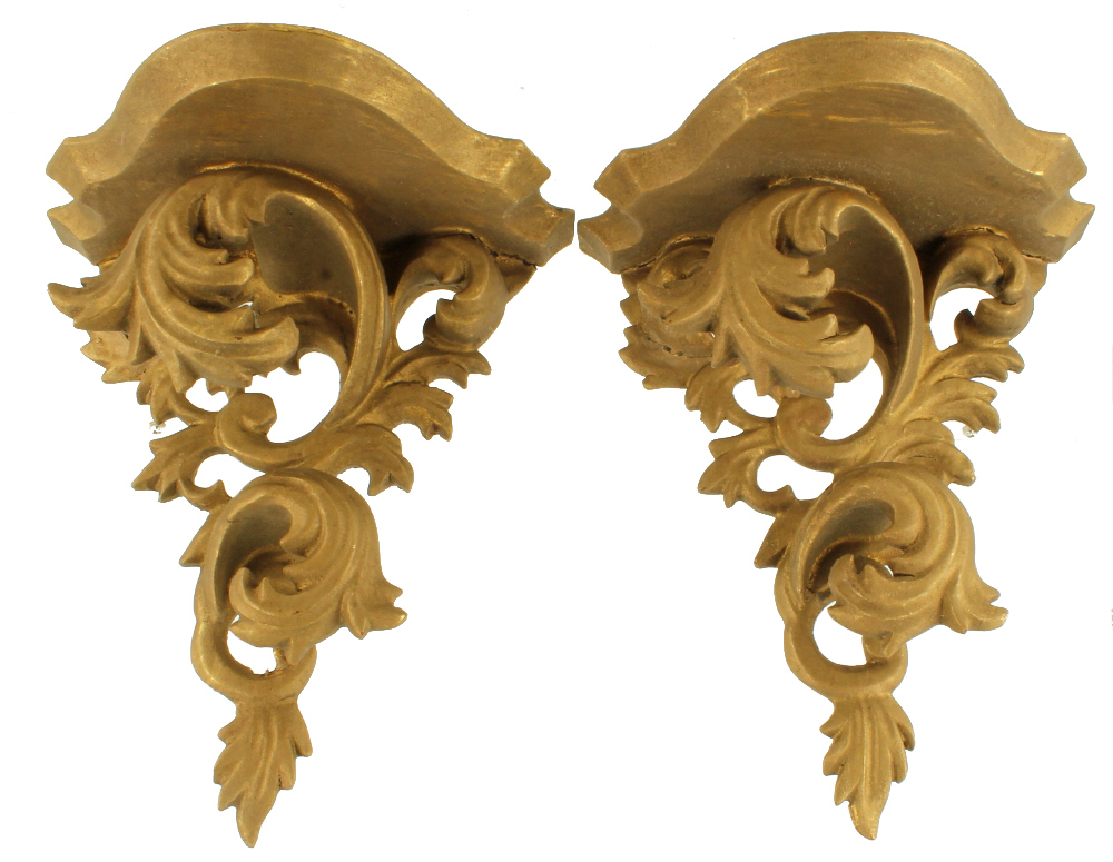 Antique Italian Art Nouveau Wooden Gilded Wall Sconce Pair