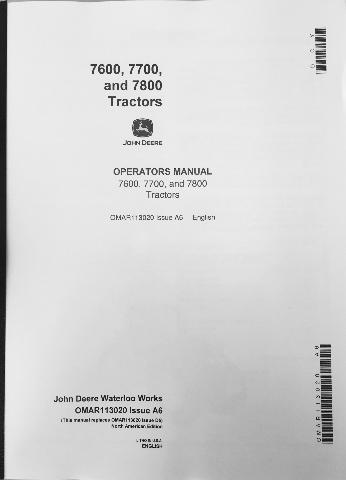 John Deere JD 7600 7700 7800 Tractor Operators Operation Manual - operation manual
