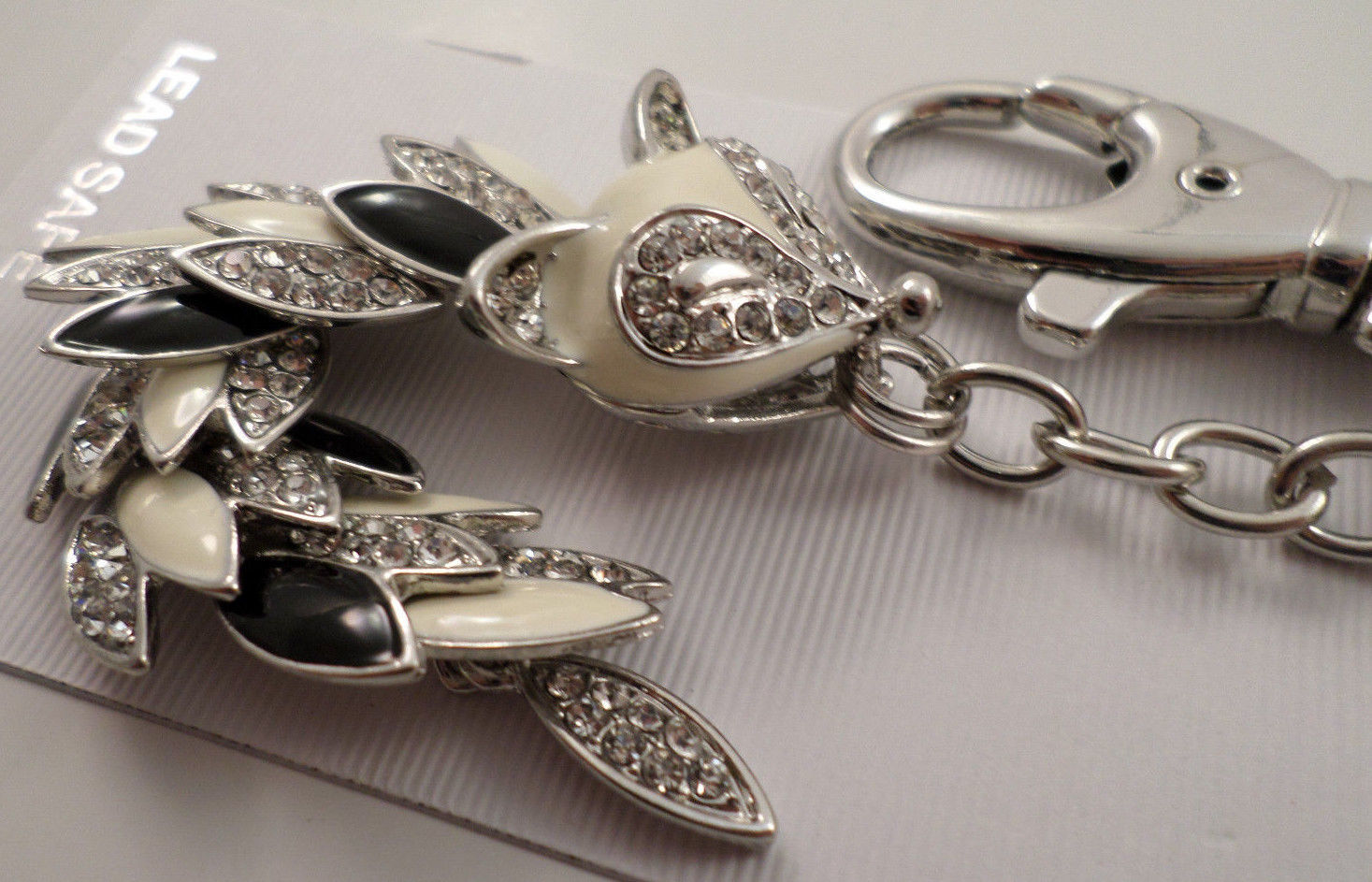 Action Ketting Rhinestone Bling Foxy Fox Moving Tail Action Charm Key