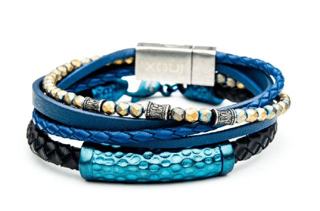 Inox Men39s Multi Blue Leather And Hematite Bead Stackable