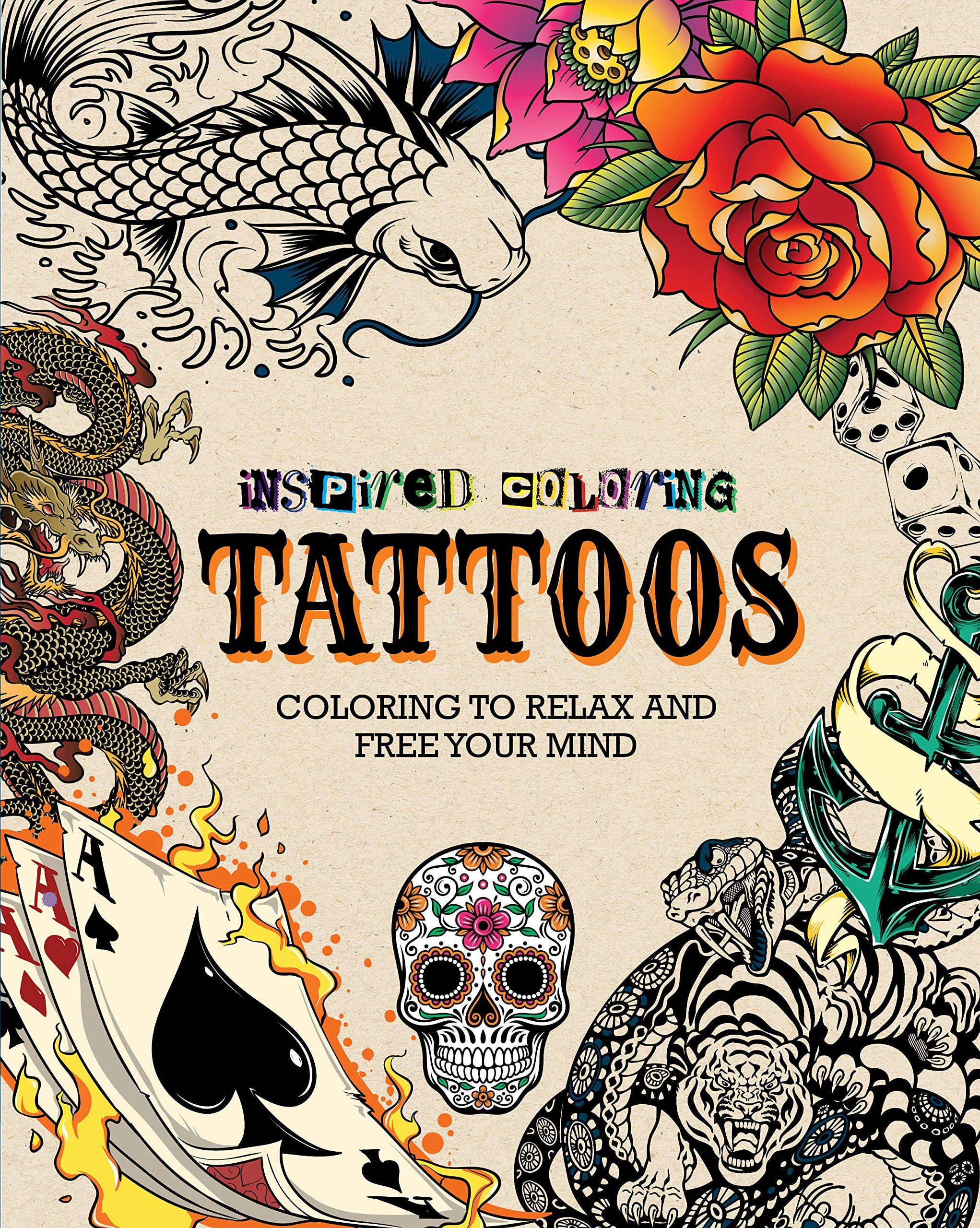 Inspired coloring tattoos adult coloring book