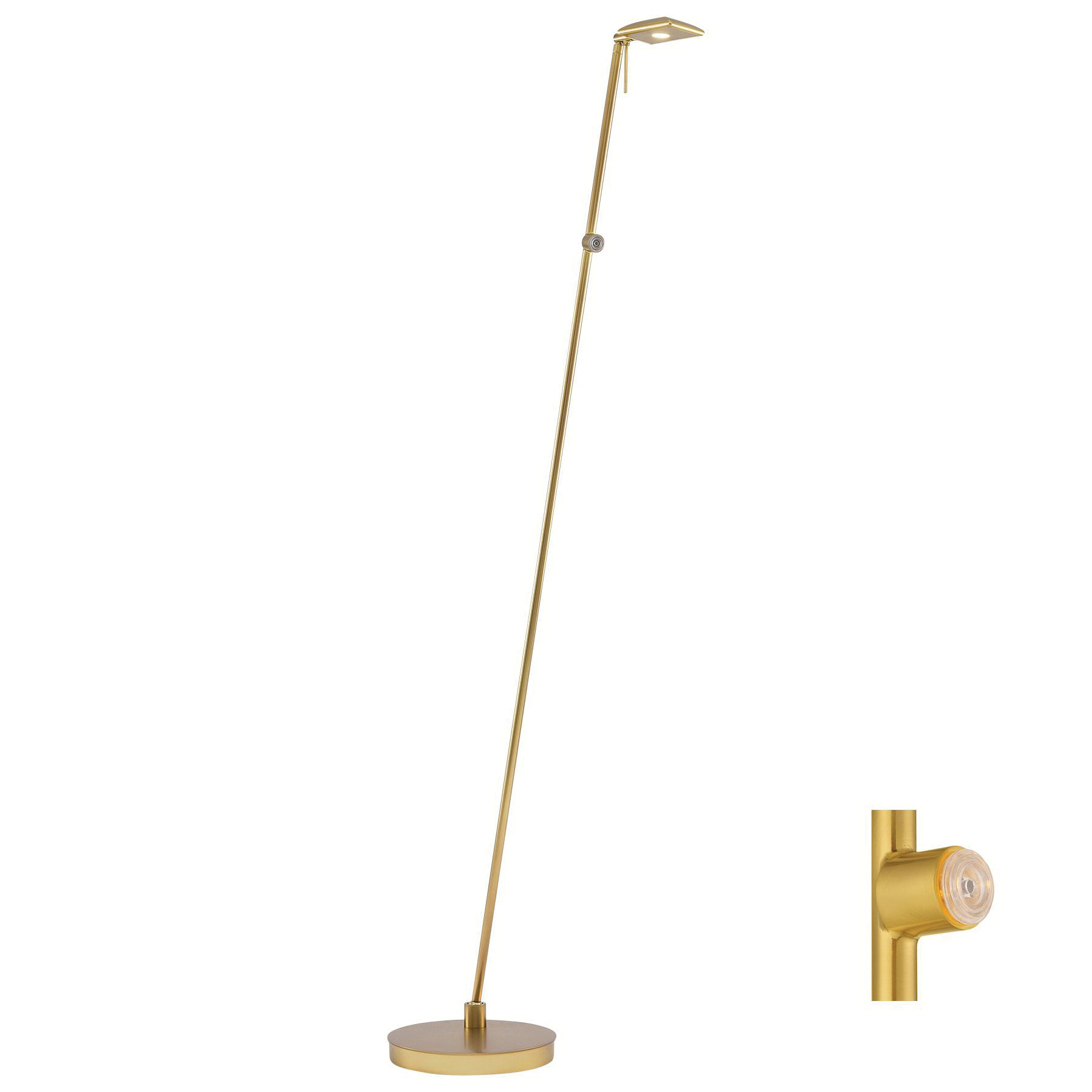 Gold Floor Reading Lamp George Kovacs P4324 248 Dimmable Portable Floor Lamp 8 Watt Honey