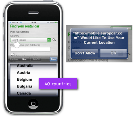 Europcar uses location detection to shorten the drop down for pick up country