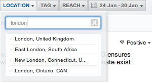 A screenshot of the uberVU location search