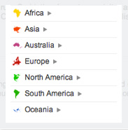 A screenshot of the uberVU location browser, highlighting countries.