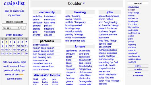 A screenshot of craislist.org