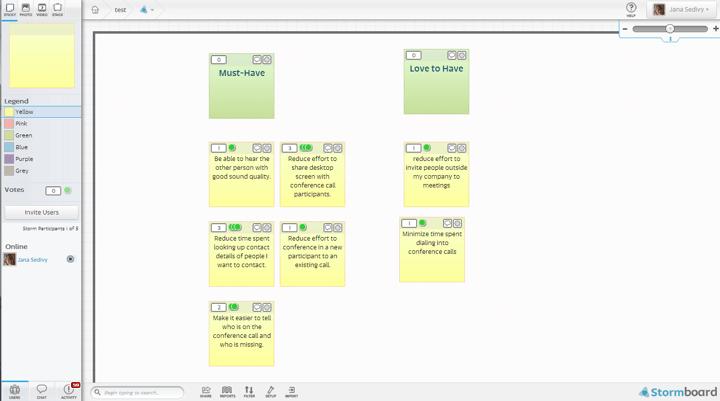 Sample prioritization exercise using StormBoard