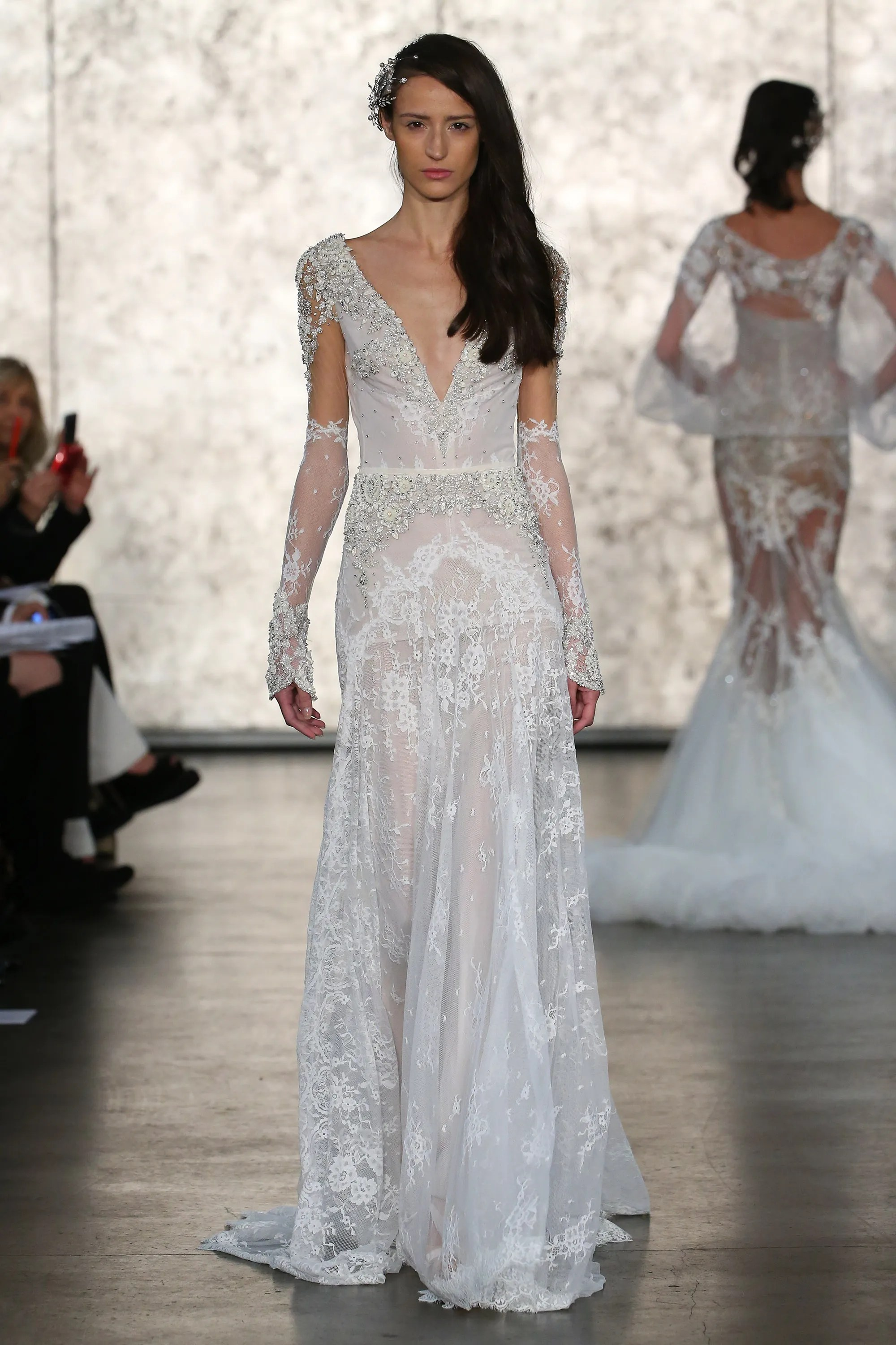 mermaid style wedding dresses with feathers wedding dress with feathers Inbal Dror Bridal Fall Collection Vogue