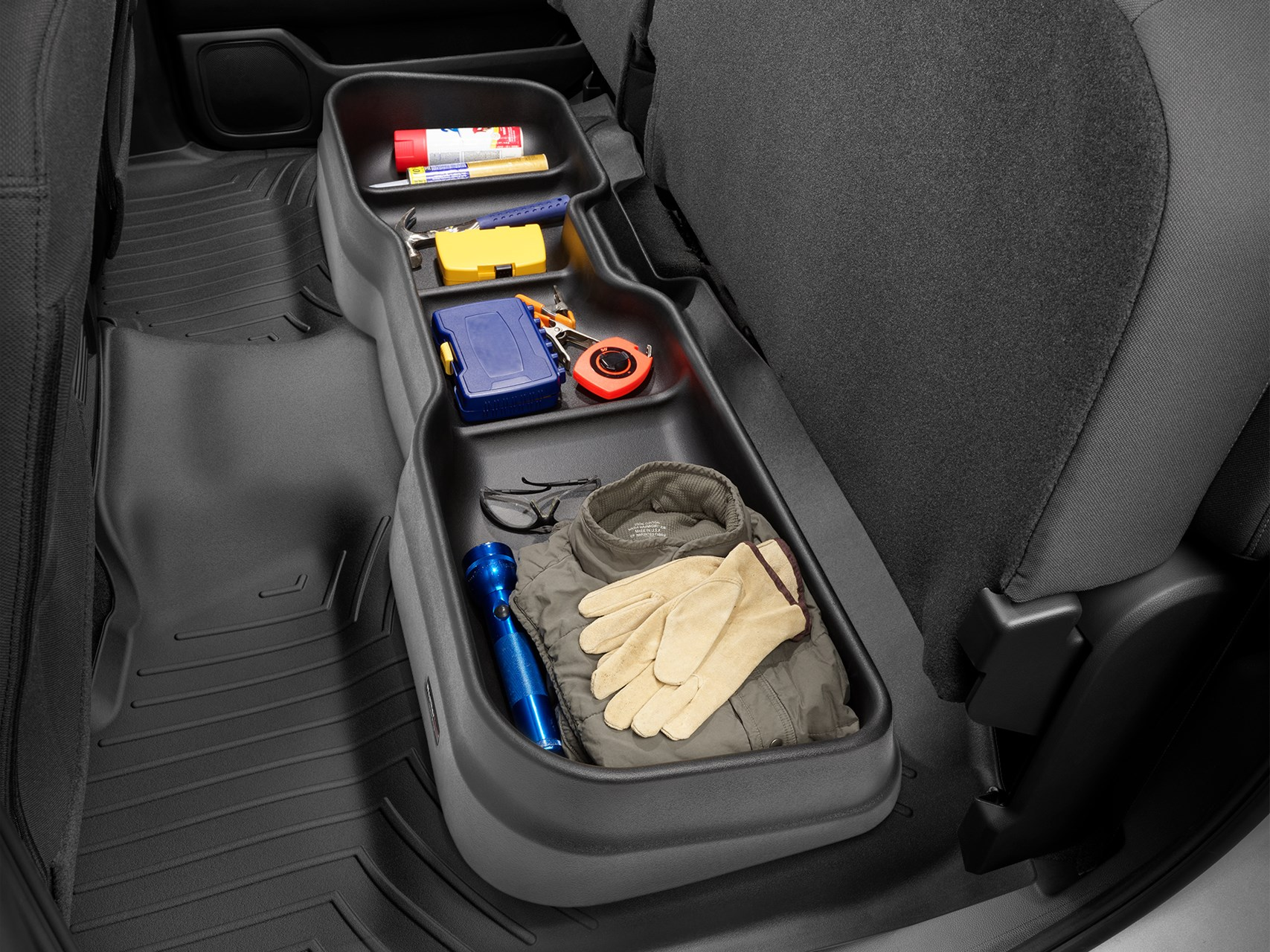 Seating With Storage Underneath Custom Fit Under Seat Storage Solution Weathertech