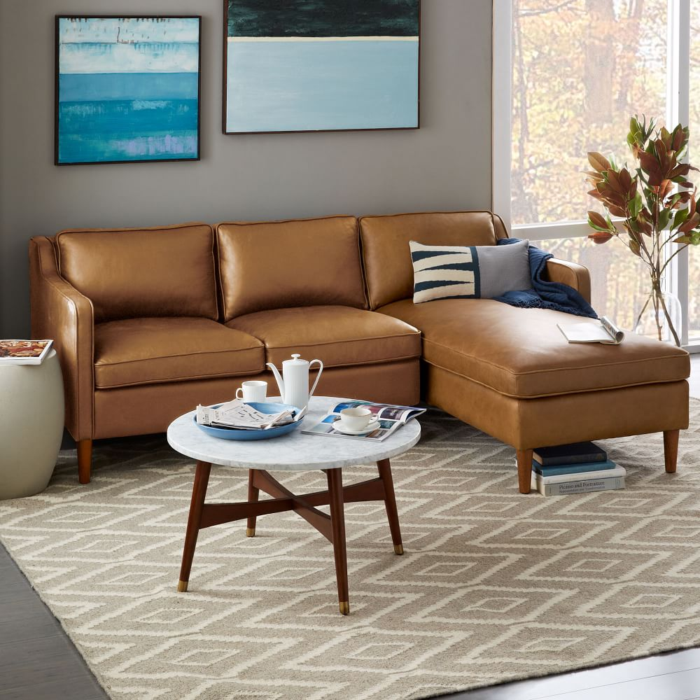 Hamilton Leather 2 Piece Chaise Sectional