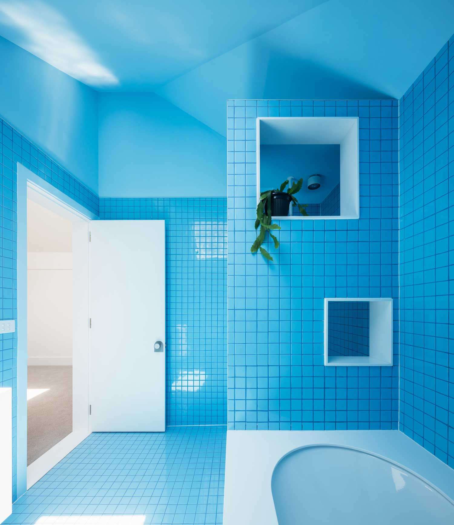 Cool Bathroom With Vibrant Blue Tile  Modern  Bathroom  Los Angeles  By