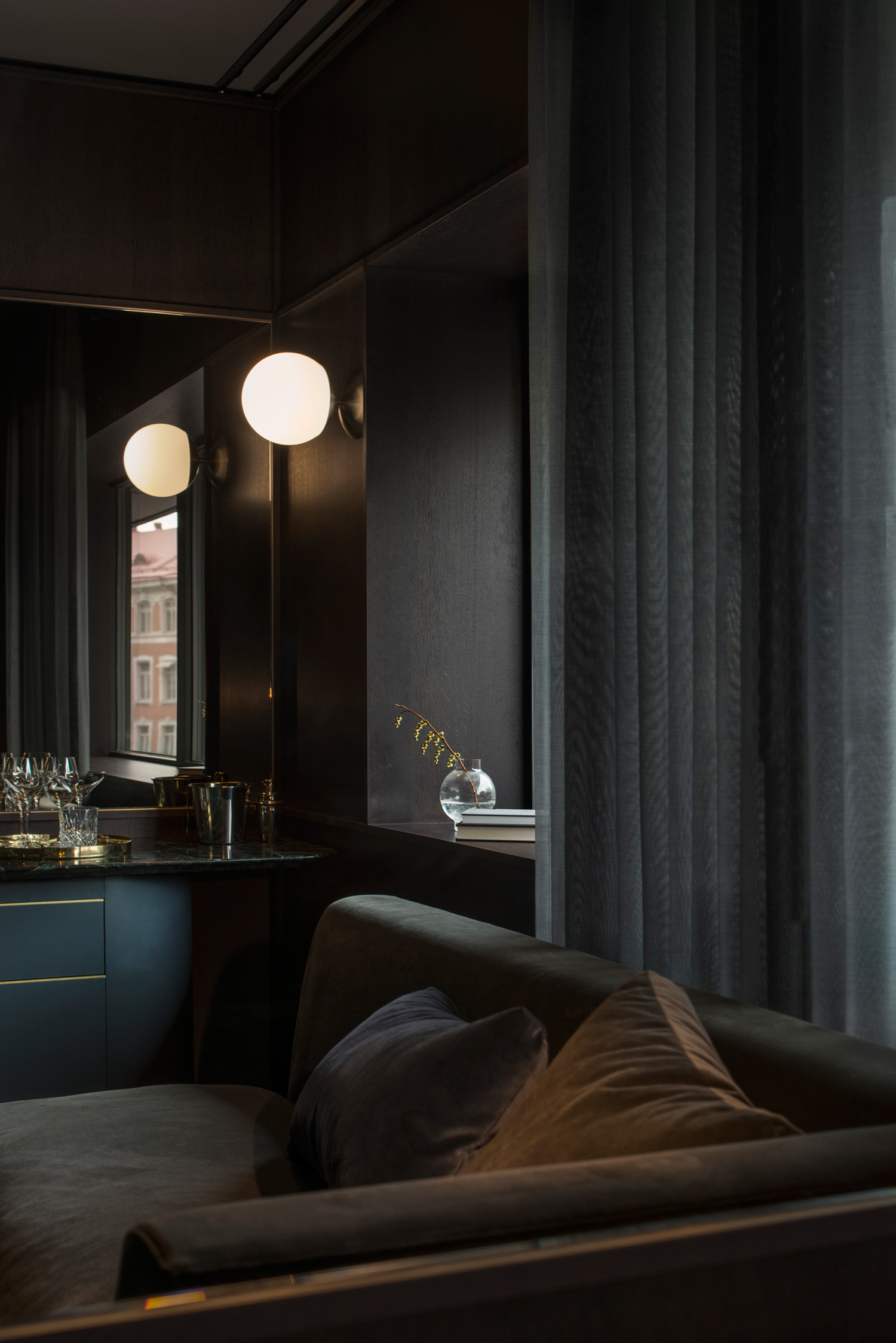 At six hotel stockholm by universal design studio for All blacks interiors