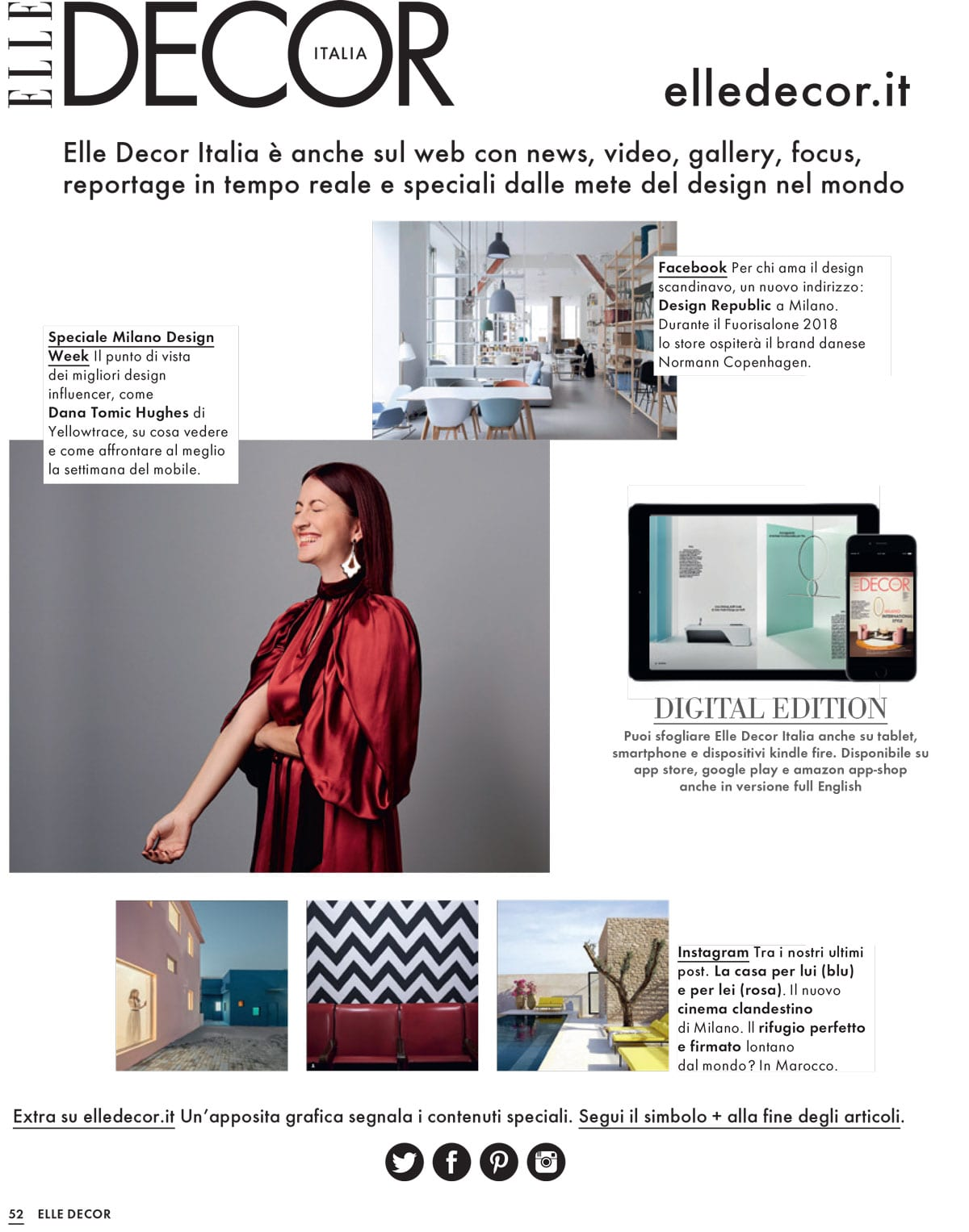 Elle Decor Italia Elle Decor Italia April 2018 Salone Del Mobile Dana Tomic Hughes