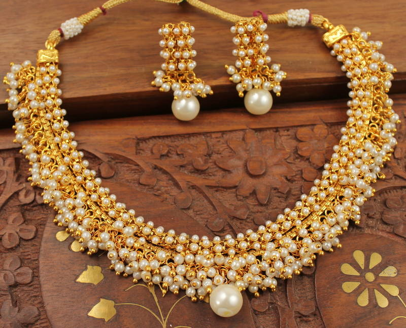 Buy Beautiful Designer Pearl Cluster Necklace Set Online