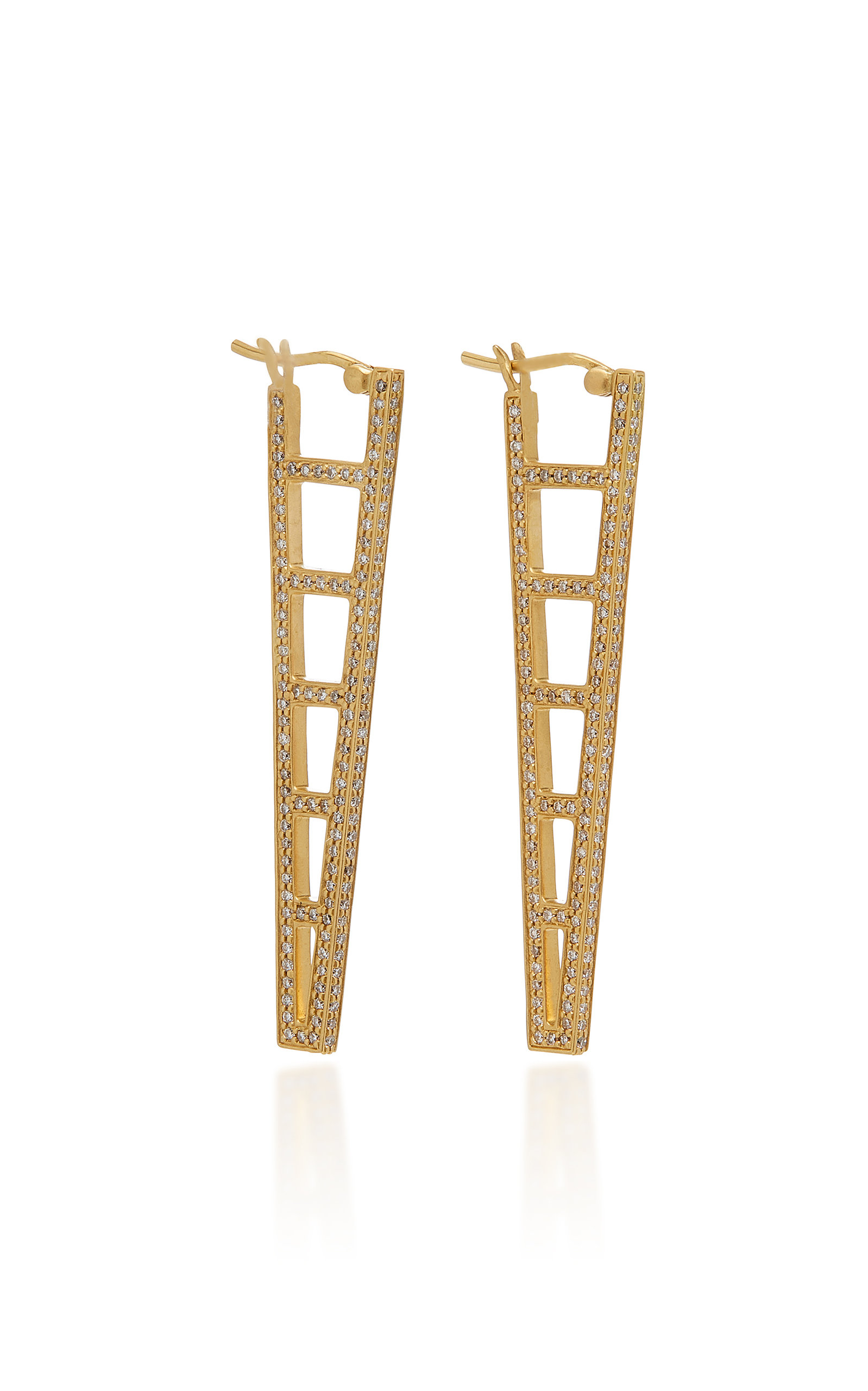 Doryn Wallach Long Ladder Diamond Hoops Earrings In Gold