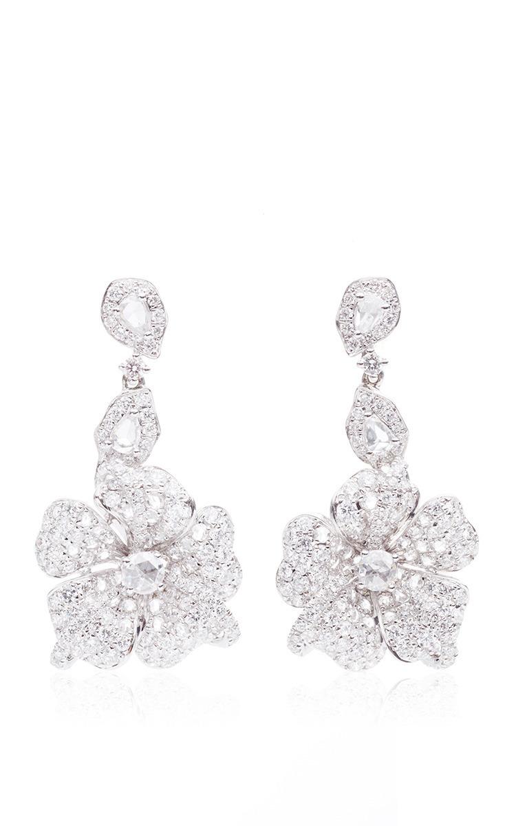 Duchess Hibiscus Rose Cut Diamond Earrings by Anna Hu