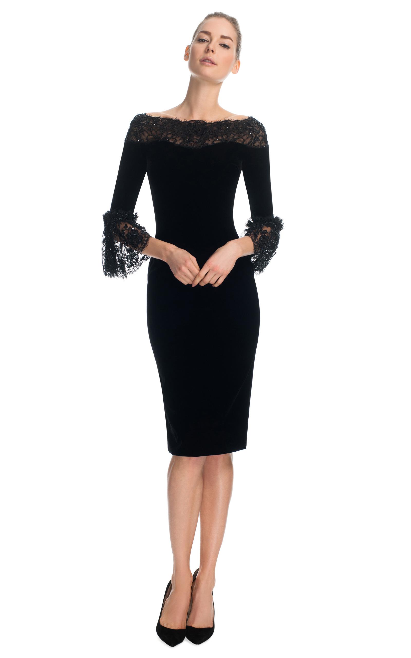 Girl Wallpaper Zip Velvet Cocktail Dress With Three Quarter Frill Sleeves