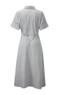 Grey Cotton Tie Waist Shirt Dress by Lisa Marie | Moda ...