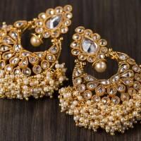 Buy golden pearl beaded heavy earrings Online