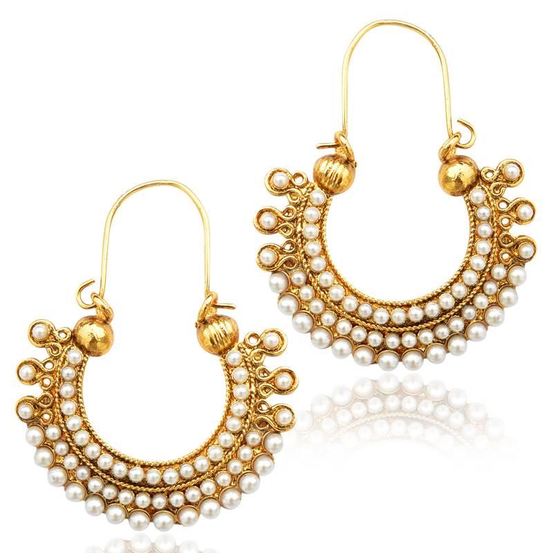 Buy Pearl golden finish ethnic bali hoop Indian vintage