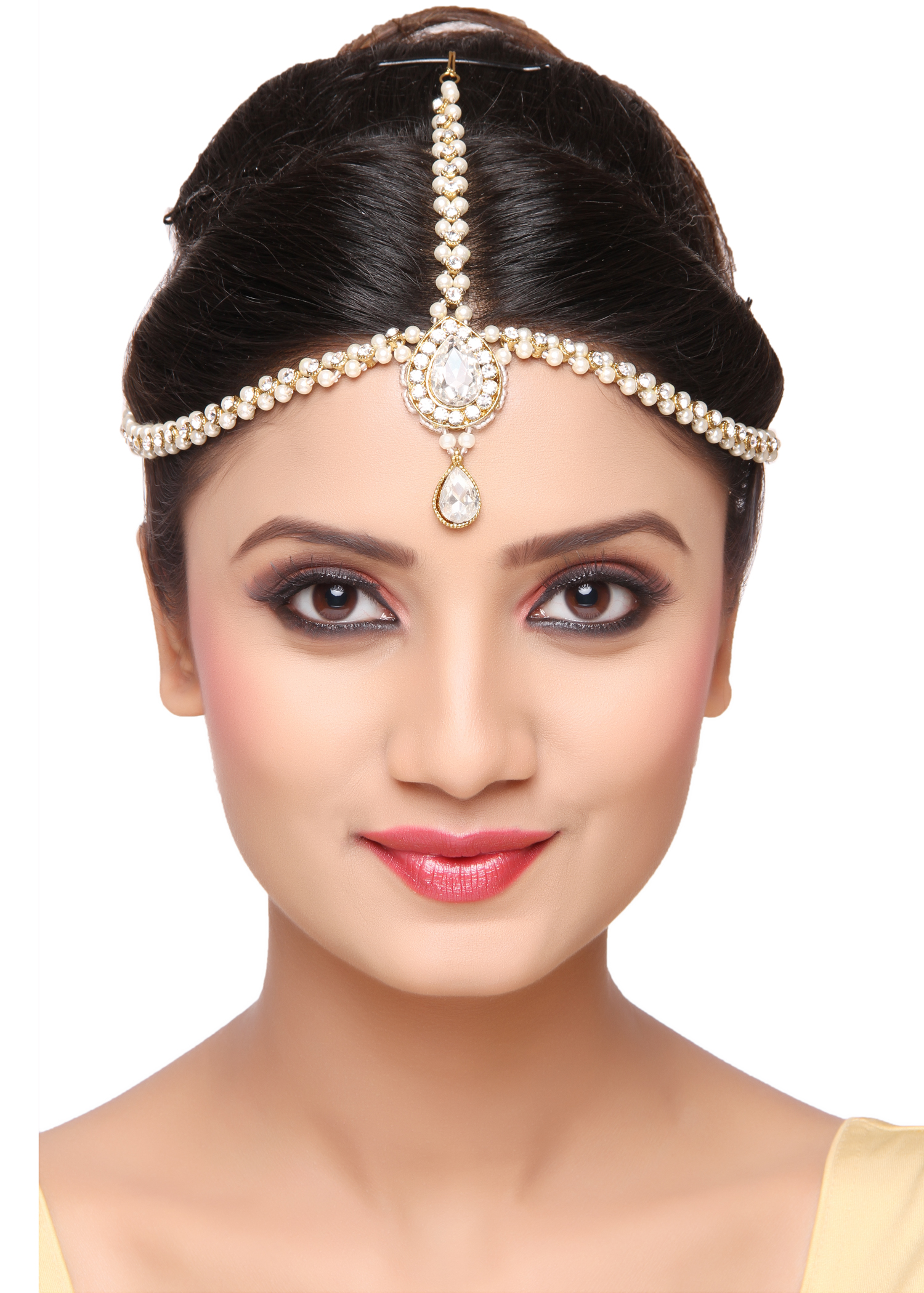 Trendy bridal headpiece - Buy Trendy Design Matha Patti For Wedding Gold Finishing With Pearl And Stone In White Hair