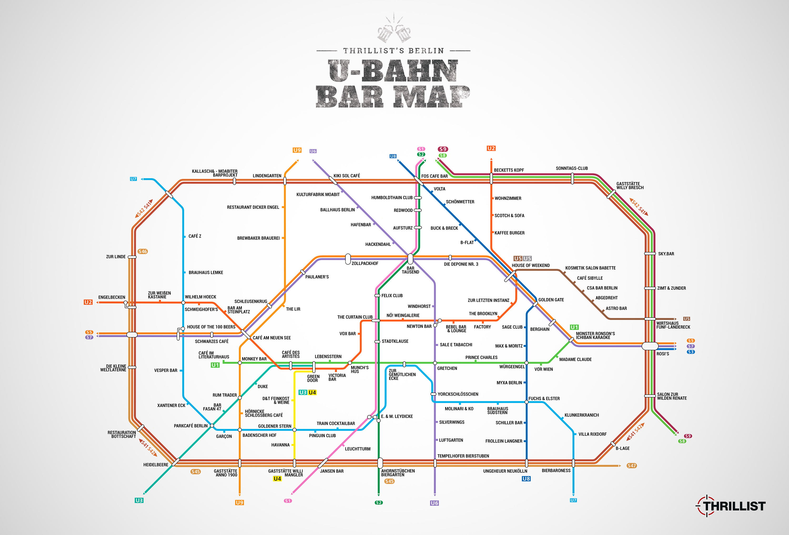 Wohnzimmer Bar Berlin Karte Berlin U Bahn Map Map With Bars Near Every Stop Thrillist
