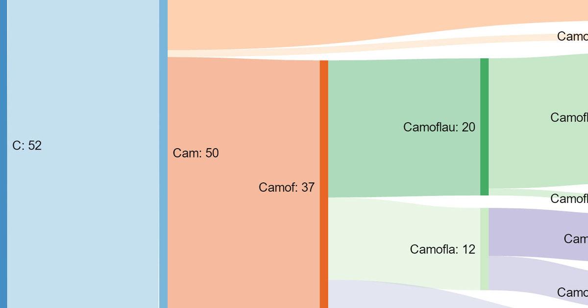 Sankey Diagram Charts How 9th Graders Misspell Camouflage - Thrillist