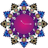Buy Multicolor designer wooden wall clock Online