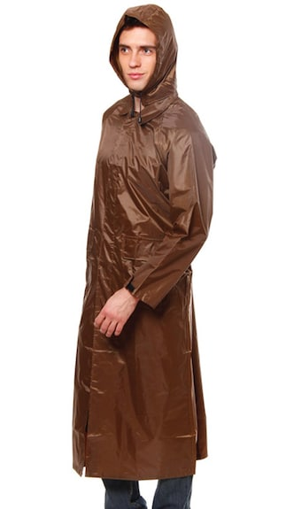 Duckback Coffee Polyester Raincoat (Size-44)