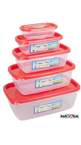 NAYASA Virgin Plastic Red Microwave Container - Set Of 5