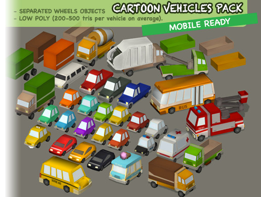 Cartoon Vehicles Pack - Cars, Trucks, and More - Asset Store